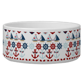 Summer Nautical Theme Anchors Sail Boats Helms Bowl