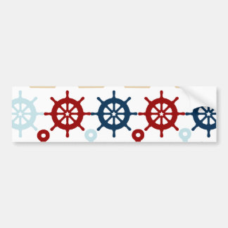 Summer Nautical Theme Anchors Sail Boats Helms Bumper Sticker