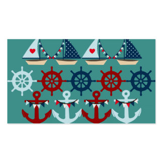 Summer Nautical Theme Anchors Sail Boats Helms Business Card