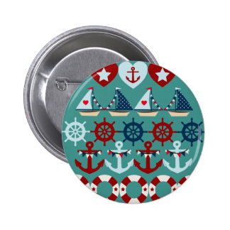 Summer Nautical Theme Anchors Sail Boats Helms Button