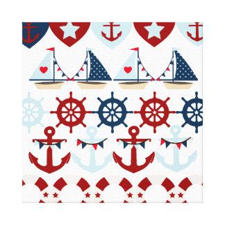 Summer Nautical Theme Anchors Sail Boats Helms Stretched Canvas Prints