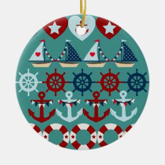 Summer Nautical Theme Anchors Sail Boats Helms Ceramic Ornament