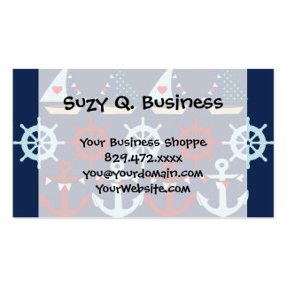 Summer Nautical Theme Anchors Sail Boats Helms Double-Sided Standard Business Cards (Pack Of 100)
