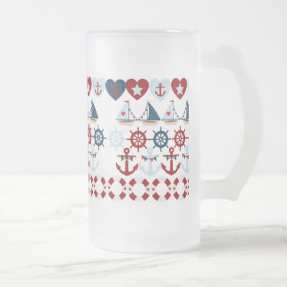 Summer Nautical Theme Anchors Sail Boats Helms Frosted Glass Beer Mug