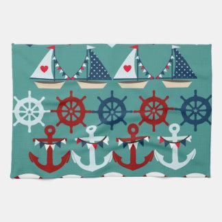 Summer Nautical Theme Anchors Sail Boats Helms Hand Towel