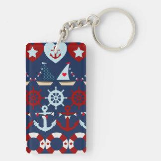 Summer Nautical Theme Anchors Sail Boats Helms Keychain