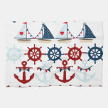 Summer Nautical Theme Anchors Sail Boats Helms Hand Towels