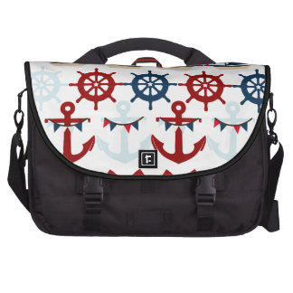Summer Nautical Theme Anchors Sail Boats Helms Laptop Messenger Bag