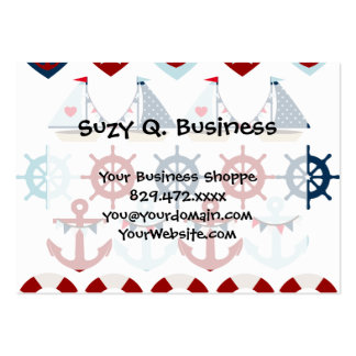 Summer Nautical Theme Anchors Sail Boats Helms Large Business Cards (Pack Of 100)