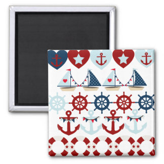 Summer Nautical Theme Anchors Sail Boats Helms Refrigerator Magnet
