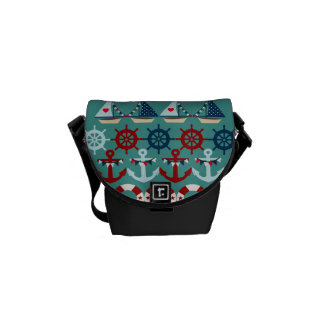 Summer Nautical Theme Anchors Sail Boats Helms Courier Bags
