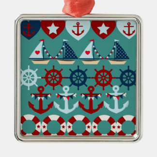 Summer Nautical Theme Anchors Sail Boats Helms Metal Ornament