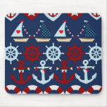 Summer Nautical Theme Anchors Sail Boats Helms Mouse Pad
