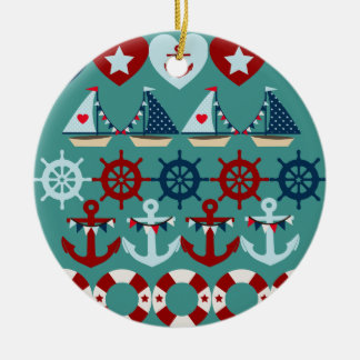 Summer Nautical Theme Anchors Sail Boats Helms Double-Sided Ceramic Round Christmas Ornament