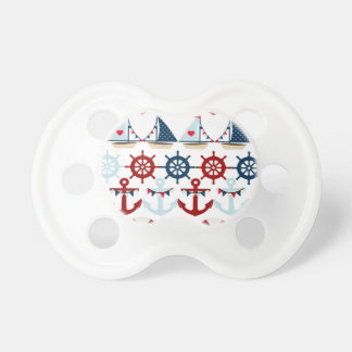 Summer Nautical Theme Anchors Sail Boats Helms Pacifier