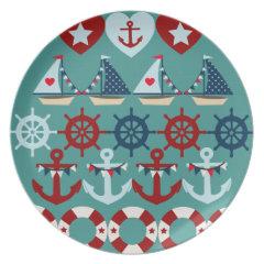 Summer Nautical Theme Anchors Sail Boats Helms Dinner Plate