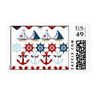 Summer Nautical Theme Anchors Sail Boats Helms Postage Stamp