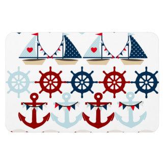 Summer Nautical Theme Anchors Sail Boats Helms Rectangular Photo Magnet