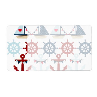 Summer Nautical Theme Anchors Sail Boats Helms Shipping Label