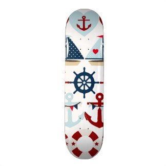 Summer Nautical Theme Anchors Sail Boats Helms Skateboard Deck