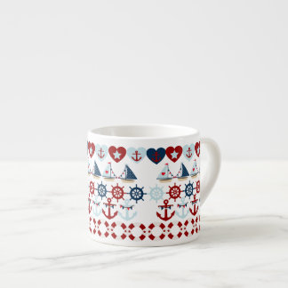 Summer Nautical Theme Anchors Sail Boats Helms Espresso Cup