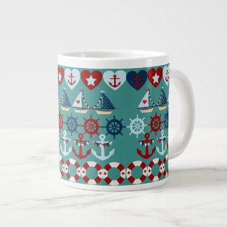 Summer Nautical Theme Anchors Sail Boats Helms Extra Large Mug