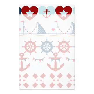 Summer Nautical Theme Anchors Sail Boats Helms Stationery