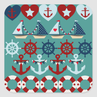 Summer Nautical Theme Anchors Sail Boats Helms Stickers