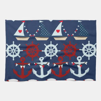 Summer Nautical Theme Anchors Sail Boats Helms Towel