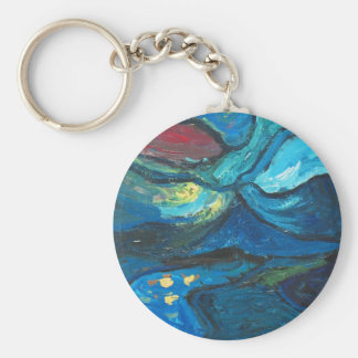 Summer Night (abstract expressionism landscape) Keychain