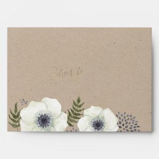 Summer Night Flowers Wedding Envelope