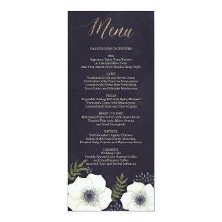Summer Night Flowers Wedding Menu Card