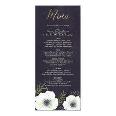 "Summer Night Flowers Wedding Menu Card 4"" X 9.25"" Invitation Card at Zazzle"