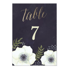 Summer Night Flowers Wedding Table Number 5x7 Paper Invitation Card at Zazzle