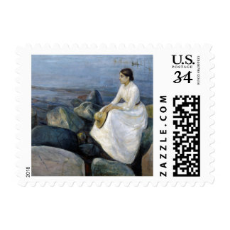 Summer Night. Inger on the Beach by Edvard Munch Postage Stamp