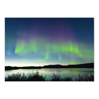 Summer night Northern lights over Lake Laberge 5x7 Paper Invitation Card
