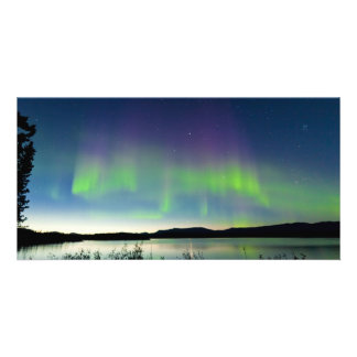 Summer night Northern lights over Lake Laberge Photo Card Template