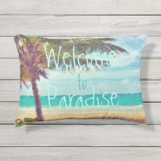 Summer Ocean Beach Palm Tree Watercolor Painting Outdoor Pillow