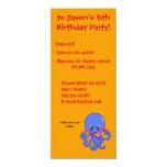 Summer octopus 4x9.25 paper invitation card