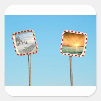 Summer or Winter Square Sticker
