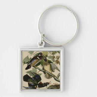 Summer or Wood Duck Silver-Colored Square Keychain