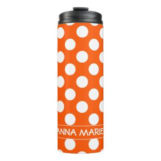 Summer Orange and White Polka Dot Personalized Thermal Tumbler