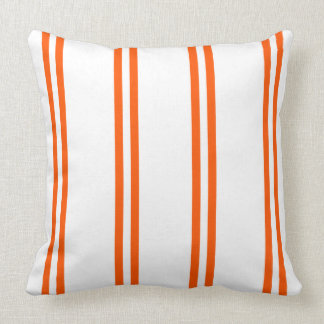 Summer Orange Double Stripes on White Throw Pillow