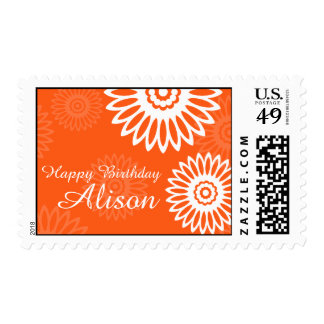Summer Orange flowers Happy Birthday Name postage