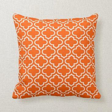 CozyLivin Summer Orange White Retro Chic Trellis Pattern Throw Pillow