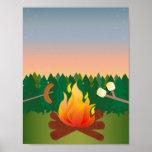 Summer Outdoor Camp Fire Poster