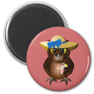 Summer Owl With Hat & Drink 2 Inch Round Magnet