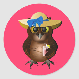 Summer Owl With Hat & Drink Classic Round Sticker