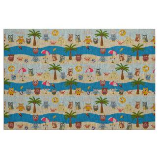summer owls fabric