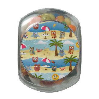 summer owls glass candy jar